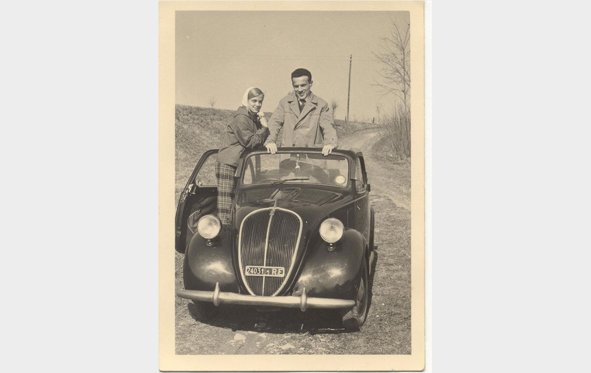 Mario and I in Puianello on Johnny's Carolina. Spring 1958