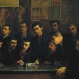 Gruppo di componenti la Cooperativa pittori di Reggio Emilia